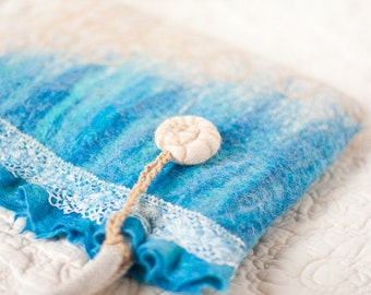 Nuno Felted Bag Blue Aqua Sea Shell Turquoise Beach Beige Water Aquamarine Nautical Vacation Travel
