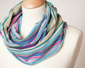 Infinity Scarf Versatile Cowl Loop Circle Colorful Stripes Multicolor Rainbow Modern Minimalist Men Women