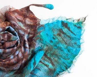 Nuno Felted Scarf Exotic Bird Feather Fiber Art Turquoise Chocolate Brown Periwinkle Shibori ruffles OOAK
