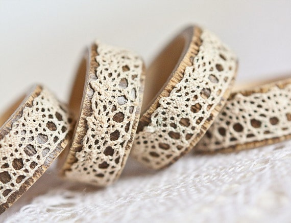 Napkin Rings Organic Bamboo Vintage French Lace Beige Set of Four OOAK Holiday Home Decor  teamcamelot tbteam elitett