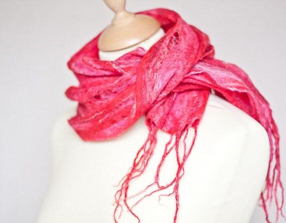 Cobweb thin Felted Scarf Red Hot Pink Merino wool Silk OOAK neon christmas teamcamelot tbteam elitett