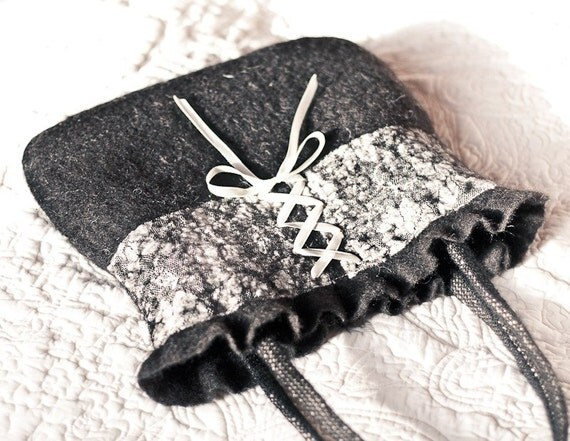 Nuno Felted Bag with Lace and Ribbon Black Cream Ivory Sexy Corset tbteam teamcamelot elitett