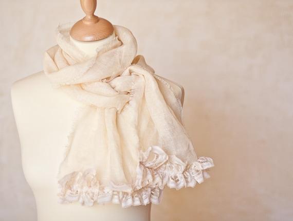 Linen Scarf Vintage French Lace Natural Vanilla Cream Beige Bridal Wedding OOAK