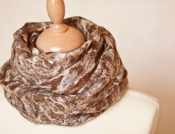 Felted Scarf Cobweb Shawl Stole Baby Alpaca Wool Silk Eco Friendly Luxury hand felted Woodland