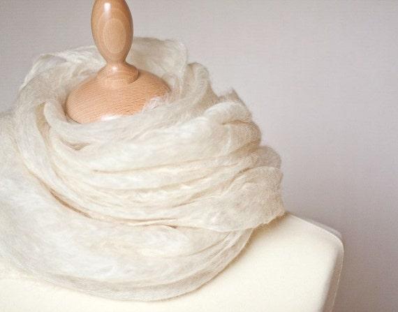 Cobwel Shawl Scarf Stole White Felted Wool Natural Lace Wedding Bridal Fashion