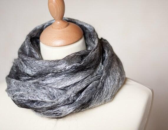 Lace Scarf Felt Cobwel Shawl Silk Baby Alpaca Salt and Pepper black and white grey gray silver eco friendly dark