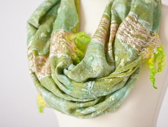 Infinity Scarf Versatile Cowl Loop Circle Scarf Wool Silk Fresh Green Bamboo summer garden teamcamelot tbteam elitett