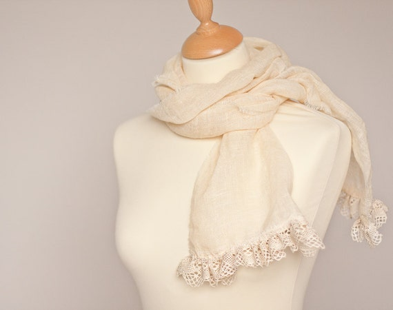 Linen Scarf Vintage French Lace Natural Vanilla Cream Beige Bridal Wedding OOAK eco friendly elitett dtteam teamcamelot tbteam