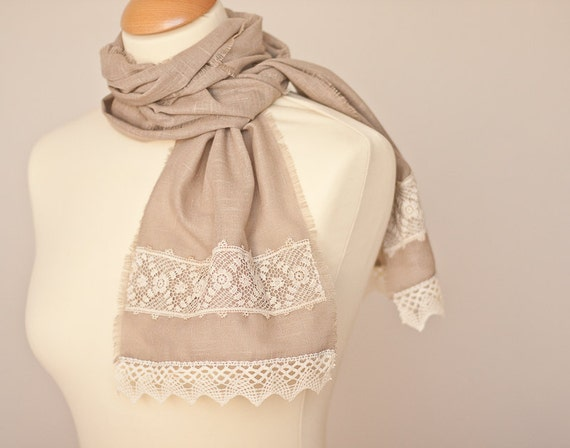 Linen Scarf Vintage French Lace Natural Taupe Beige Eco Friendly rustic autumn harvest neutral OOAK
