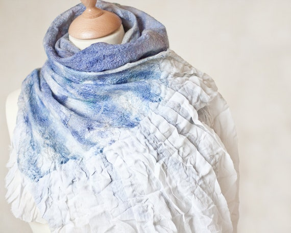 Silk Wool Scarf Fiber Art nuno felted Cobweb Shawl Bird Wings White Blue Periwinkle Abstract Texture OOAK teamcamelot elitett tbteam
