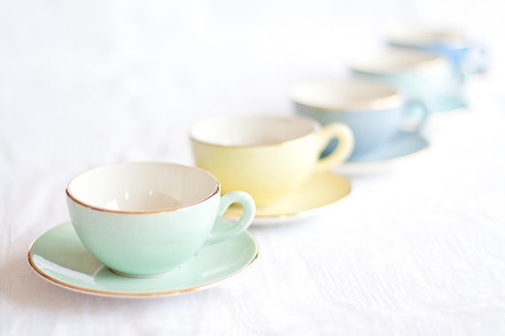 Vintage French Tea Set Pastel Color Retro Mint Yellow Light Blue Multicolor Home Decor Summer table teamcamelot elitett tbteam dtteam