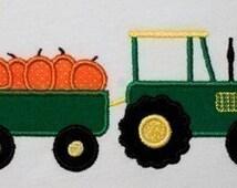 Tractor with Pumpkins Applique Design