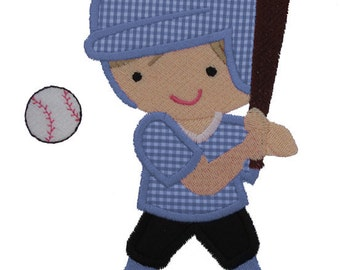 Baseball Player Applique Design
