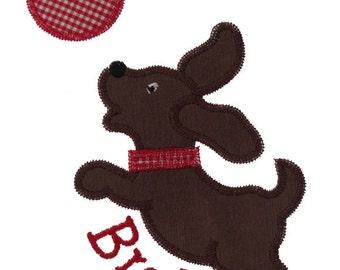 Dog Playing Ball Applique Design