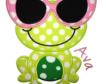 Frog with Glasses Applique Design
