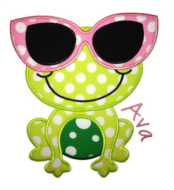 Frog with Glasses Applique Design