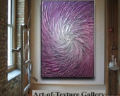 30 x 40 Custom Original Abstract Texture Modern Purple Pink Silver Metallic Carved Floral Sculpture Knife Oil Painting by Je Hlobik