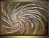 40 x 30 Custom Original Abstract Texture Modern Brown Beige Silver Pink White Carved Floral Flower Sculpture Knife Oil Painting by Je Hlobik