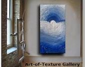48 x 24 Original Oil Modern Heavy Texture Palette Knife Blue Silver White Painting by Je Hlobik