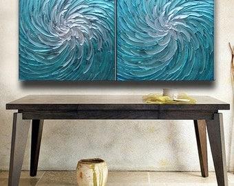 60 x 30 Pair Paintings Custom Original Abstract Texture Impaston Aqua Blue White Floral Sculpture Modern Metallics Oil Painting by Je Hlobik
