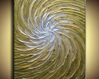 30 x 40 Large Original Abstract Texture Modern White Gold Sage Olive Green Carved Floral Sculpture Knife Oil Painting by Je Hlobik