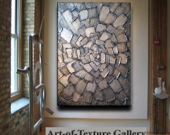Abstract Painting Big 30 x 40 Texture Modern Blue Silver White Metallic Carved Knife Oil Painting by Je Hlobik