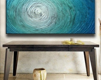 Painting 60 x 30 Custom Original Abstract Heavy Texture Blue Silver White Aqua Water Carved Oil Painting by Je Hlobik
