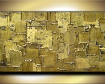48 x 24 Original Abstract Heavy Texture Impasto Carved Oil Olive Brown Green Gold Metallics Painting by Je Hlobik