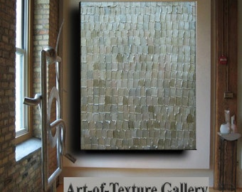 Abstract Textured Painting 34 x 44 Custom Original Heavy Metallics White Neutral Beige Sage Silver Oil by Je Hlobik