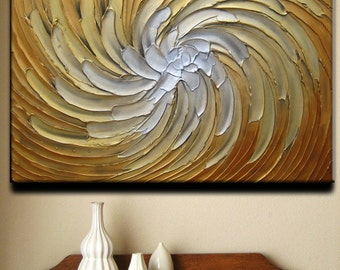 36 x 24 Original Abstract Texture Modern Gold Copper White Carved Floral Flower Sculpture Knife Oil Painting by Je Hlobik Ready to Ship