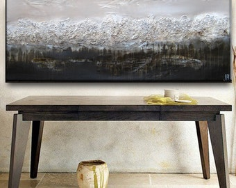 Huge 70 x 30 Custom Original Abstract Texture Pebbling Beige Brown White Gray Modern Oil Mixed Medium Painting by Je Hlobik