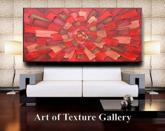 64 x 34 Custom Original Abstract Heavy Impasto Texture Red Brown Gold Oil Painting by Je Hlobik