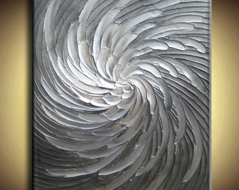 Abstract Textured Painting Big Custom Original Heavy Impasto White Silver Gray Black Floral Oil by Je Hlobik