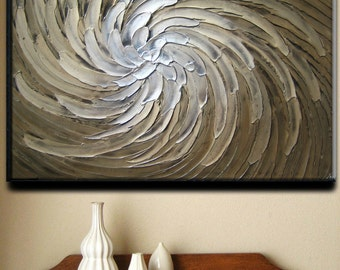 40 x 30 Custom Original Abstract Texture Carved Sculpture Floral White Beige Brown Modern Metallics Oil Painting by Je Hlobik