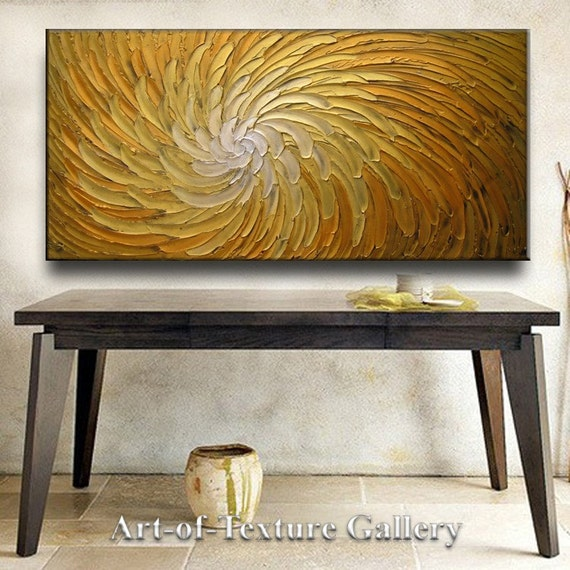 Abstract Painting 48 x 24 Original Modern Heavy Texture Carved Sculpture Floral Gold Orange Modern Metallics Oil Painting by Je Hlobik