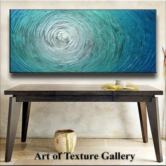 Abstract Painting 60 x 30 Custom Original Abstract Heavy Texture Blue Silver White Aqua Water Carved Oil Painting by Je Hlobik