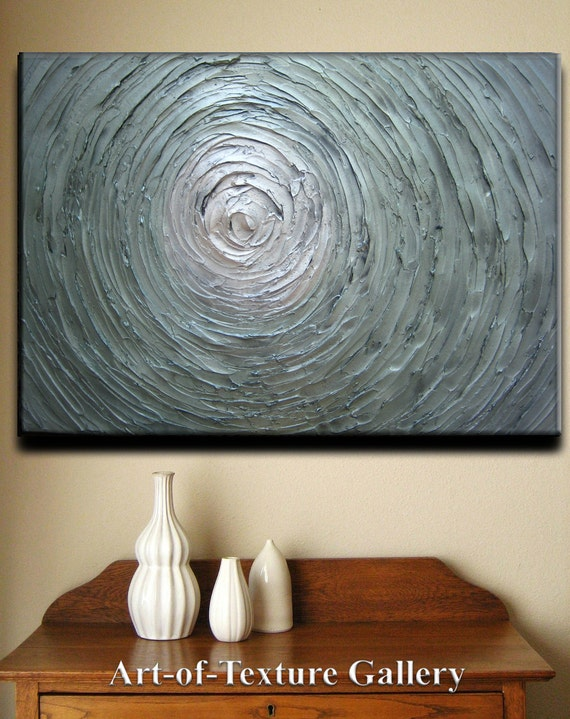SALE 36 x 24 Large Original Abstract Heavy Texture Carved White Silver Seafoam Gray Green Modern Metallics Oil Painting by Je Hlobik