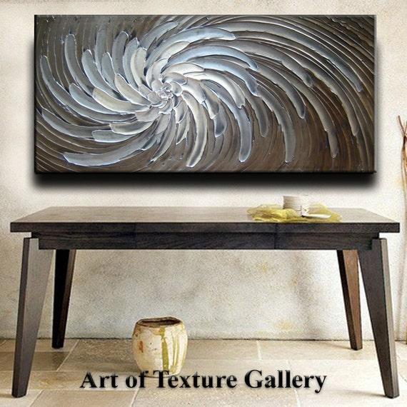 48 x 24 Custom Original Abstract Heavy Sculpture Floral Beige Brown White Modern Metallics Oil Painting by Je Hlobik