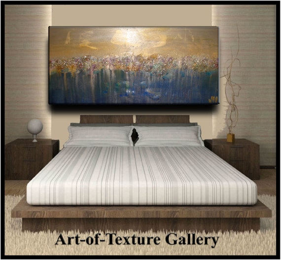 Abstract Texture Painting 60 x 30 Original Silver Blue Gold White Metallics Oil Painting by Je Hlobik