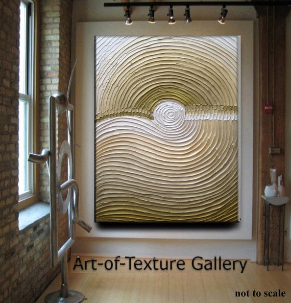 Abstract Textured Painting 30 x 40 Custom Original Heavy Impasto Olive Beige Gold Oil by Je Hlobik