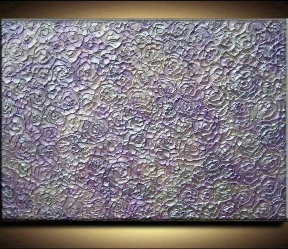 36 x 24 Original Abstract Texture Carved Sculpture Impasto Flowers Purple Silver White Modern Oil Painting by Je Hlobik Ready to Ship