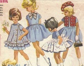 Vintage 1960s Girls Dress and Accessories Pattern McCall's 6417 Size 5