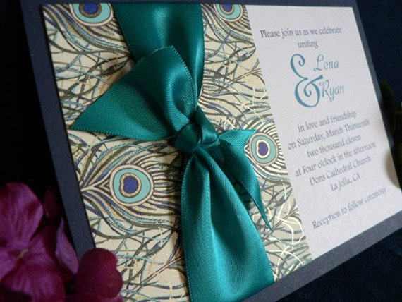 Items similar to Peacock wedding invitation limited edition on Etsy