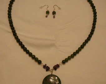 Moss Agate and Amethyst Necklace