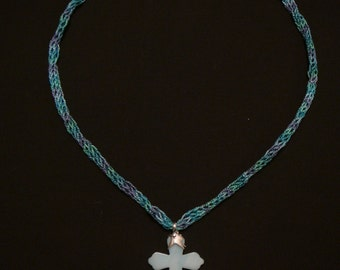 Aqua Stone Cross Necklace