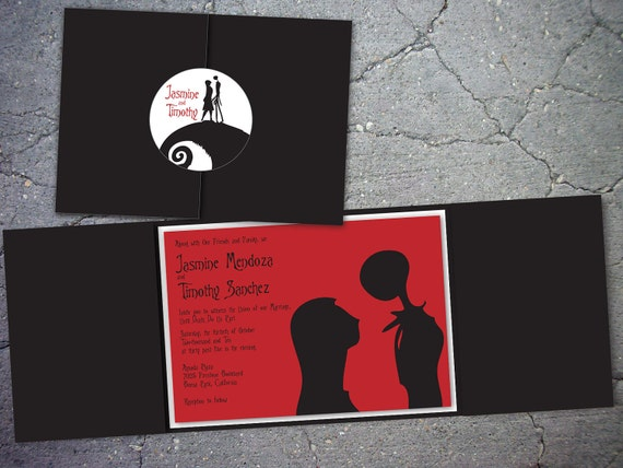 Nightmare Before Christmas Inspired Trifold Wedding Invitation