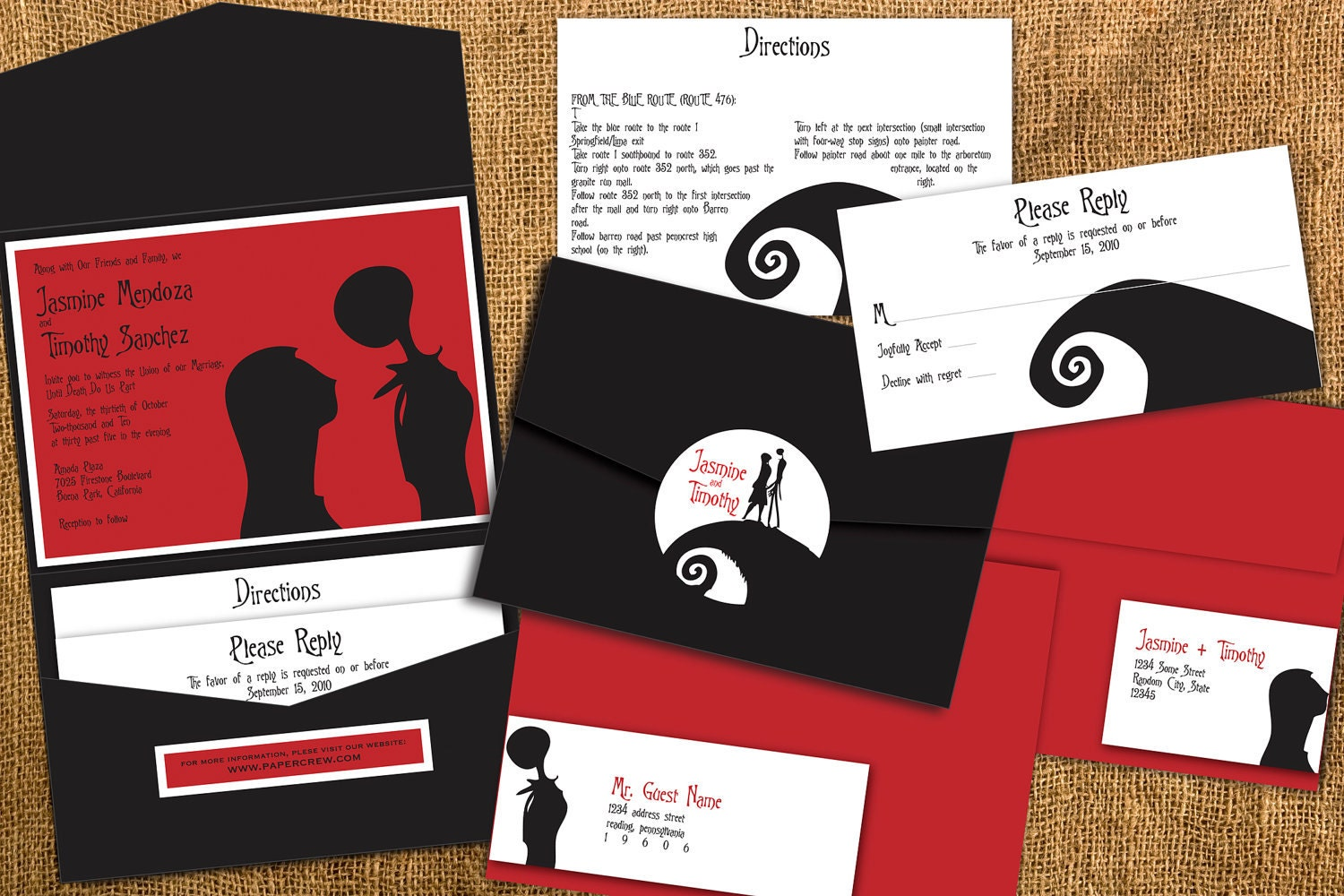 Christmas Wedding Invites: Nightmare Before Christmas Inspired Wedding By Papercrew