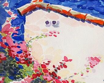 "Watercolor flowers Art print from original painting ""Look above"" by Bo Kravchenko"