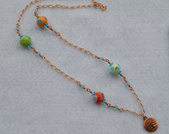 Living Tree Necklace, copper chain and glass beads