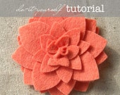 "Felt Flower Pattern Tutorial - ""Dahlia"" - PDF Instructions emailed to you within 24 hours - do-it-yourself How To Directions"